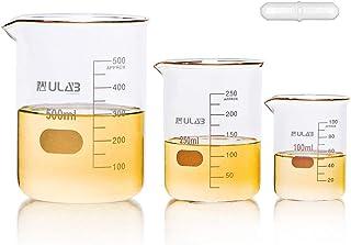 بشقاب شیشه ای گریفین فرم کم ULAB علمی با نوار همزن مغناطیسی ارائه شده ، 3 اندازه 100ml 250ml 500ml ، 3.3 شیشه Borosilicate ، فارغ التحصیلی چاپی ، UBG1004