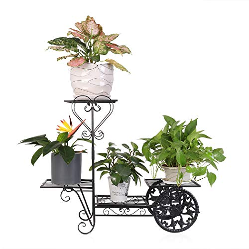 UNHO Estantería para Plantas de Metal Soporte de Flores con 4 Niveles...