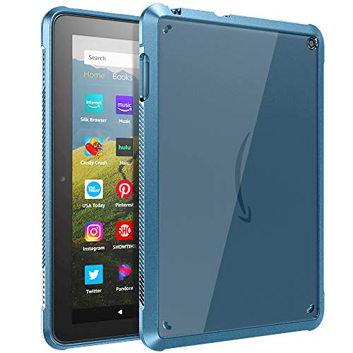 TiMOVO Case for All-New Kindle Fire HD 8 Tablet and Fire HD 8 Plus Tablet (10th Generation, 2020 Release), Ultra Slim Shockproof TPU Air-Pillow Edge Protective Back Cover Case, Twilight Blue