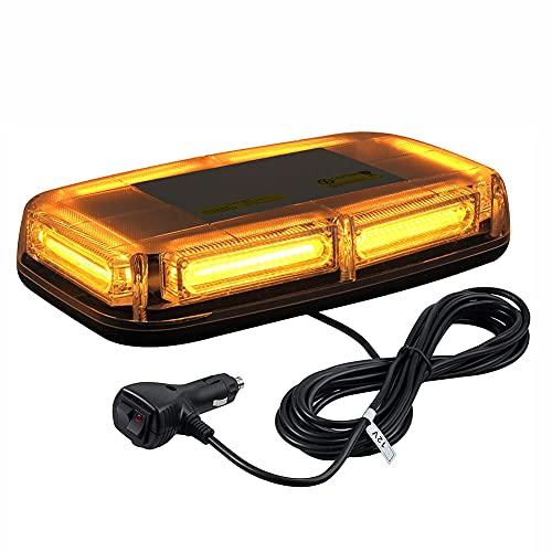 LIPETLI Led luz de Advertencia EstroboscóPica Coche 12v / 24v 7 Modos de Luz con 5m Interruptor del Encendedor de Cigarrillos 24leds Luz de Techo Ambar de Emergencia para Remolque Caminones