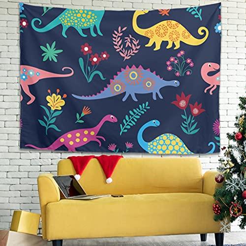Tapiz de pared con diseño de dinosaurios y flores, psicodélico, para colgar en la pared, para dormitorio, salón, como mantel de playa, blanco, 230 x 150 cm