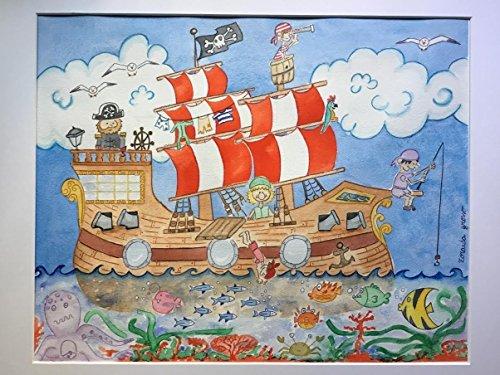 Acuarela de barco pirata para decoración infantil.