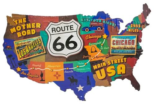 Route 66, Retro US Vintage Deko Schild, Bundesstaaten Landkarte, Wandschild, Türschild, Bar Schild, 60 x 37 cm