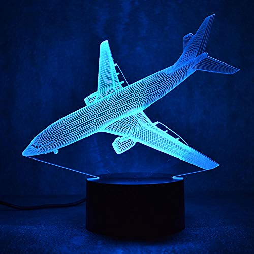 HOHHJFGG Airplane 3D Night Light Baby Bedroom Atmosphere Table Lamp 3D Bulb Light Remote Touch Switch Color Plum 3D