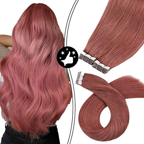 Moresoo Real Hair Extensions Tape in Human Hair 22 Inch Tape in Extensions Blonde 100G 40 Pcs Real Invisible Hair...