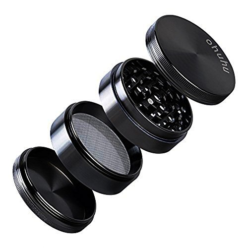 Ohuhu Herb Grinder, 4 Piece 2.38' Spice Plant Tobacco Grinders with 3 Chambers, Black Zinc Alloy