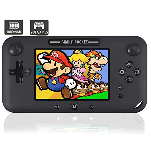"""KDRose Handheld Game Console, Portable Game Player Built-in 208 HD Classic Games 4"""" LCD Retro Gaming System, Support TV/AV 12 Bit Rechargeable Handheld Game Console (Gray)"""