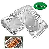 DECARETA 10 PCS Disposable Foil Trays Aluminium Foil Pans Large Foil Containers for Baking, Cooking, Heating, Storing, Prepping Food Parties,31.6 * 21.2 * 4.2cm(Sliver)