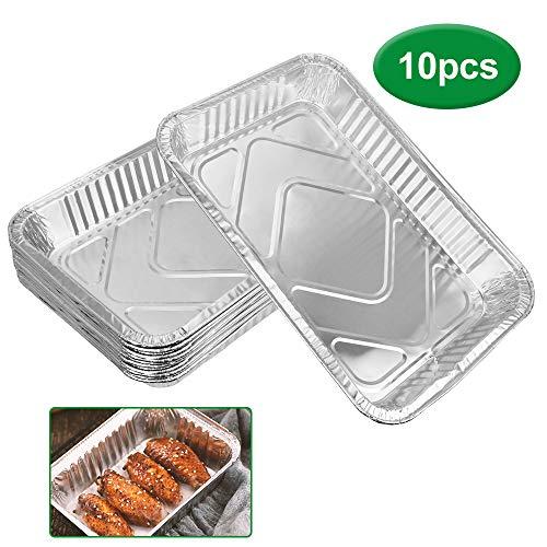 DECARETA 10 PCS Barquettes Aluminium,Plateaux de Cuisson Jetables et Recyclable Plaque à Pâtisserie pour Barbecue/Cuisson/Plat à Rôtir/Congélation/Gateaux