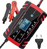 3T6B Cargador de Batería para Coche, 12V/24V 8A Mantenimiento Automático Múltiples Inteligente, Pantalla LED y Botón de la Pantalla Táctil, para Automóviles, Motos, ATVs, RVs, Barco