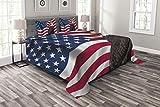ABAKUHAUS Adler Tagesdecke Set, Patriotisches Symbol Amerika, Set mit Kissenbezügen Mit Digitaldruck, für Doppelbetten 220 x 220 cm, Mehrfarbig