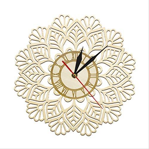 tytlclock Reloj Pared Madera Copo Nieve,Reloj Pared Nieve Navidad Invierno,Barrido Silencioso Geométrico Cortado con Láser,Decoración Moderna para El Hogar Arte,Reloj Pared Moderno,12 Pulgadas