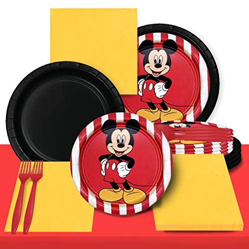 New Mickey Theme Party Tableware Set - 2 Size Plates, Napkins, Forks and Table Covers - Full Party S...