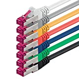 2m - 7 Colores - 7 Piezas - CAT6a Cat 6a Ethernet LAN Cable de Red - Set 10 GB/s Cable Patch CAT6 S-FTP Doble blindado PIMF 500MHz Libre de halógenos Compatible con CAT5 CAT6a CAT7 CAT8