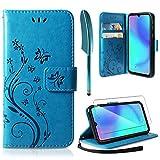 AROYI Funda Huawei P30 Lite, Funda Piel PU Huawei P30 Lite Carcasas Flip Folio Soporte Plegable Ranuras para Tarjetas Magnético Ultra-Delgado Carcasa para Huawei P30 Lite Azul