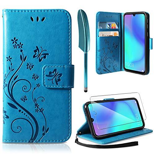 AROYI Lederhülle Kompatibel mit Huawei P30 Lite Flip Hülle und Schutzfolie, Wallet Case Handyhülle PU Leder Tasche Case Kartensteckplätzen Schutzhülle Kompatibel mit Huawei P30 Lite Blau