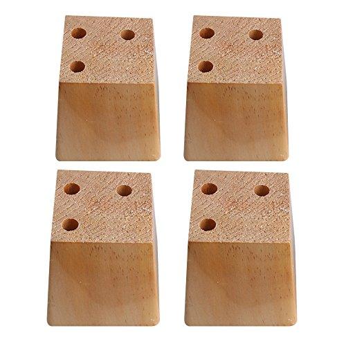 BQLZR - Patas de madera natural de pino trapezoidal para sofá, 3 agujeros, 4 unidades