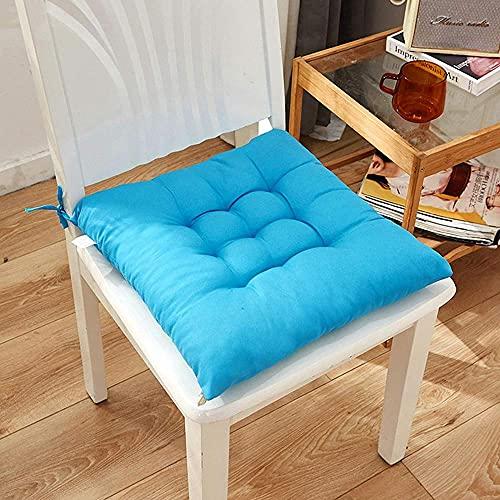 Almohadillas suaves para sillas con lazos para sillas de comedor, sillas, cojines de comedor, para jardín, patio, cocina, comedor, color azul