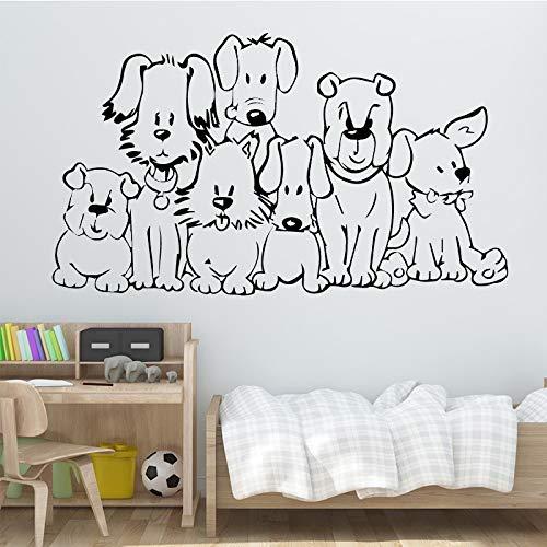 Schöne Hunde Wandkunst Aufkleber Wandkunst Aufkleber Wandbilder Wohnkultur Zubehör für Kinderzimmer Vinyl wasserdicht Wandkunst Aufkleber A1 30cmX53cm
