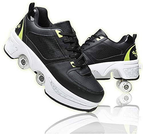 DLBJ Zapatos Multiusos 2 En 1 Patines,Kick Roller Shoe,deformables Zapatillas De Deporte,patinetas De Cuatro Ruedas Runaway para Regalo Unisex