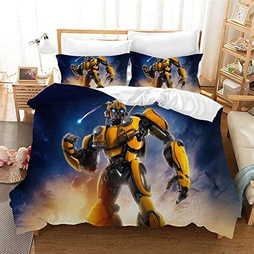 Yumhi 3D Transformers Bumblebee Bedding Set Full Optimus Prime Duvet Cover for Boys Kids Soft Bed Set 3 Pieces (1 Duvet Cover & 2 Pillow Sham)