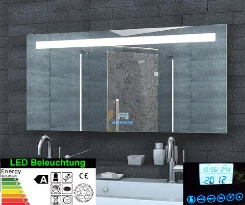 Specchio luminoso a LED, orologio con radio MP3, interruttore touch (120 x 60 cm)