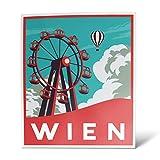 ERREINGE Sticker WIEN FLAGGE ABSCHIRMEN ÖSTERREICH Aufkleber geformtes PVC für Abziehbild, Wand, Auto, Motorrad, Sturzhelm, Wohnmobil, Portable, Roller - cm 10