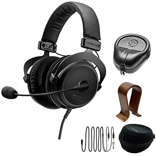 beyerdynamic MMX 300 PC Gaming Digital Headset with Microphone 2nd Generation 32 Ohms (718300) with Slappa HardBody PRO Full Sized Headphone Case Black & Universal Wood Headphone Stand