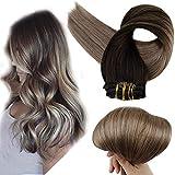 Full Shine Full Head Clip Hair Extensions Human Hair 14 inch 10 Pieces...