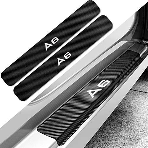 HUAQIEMI 4Pcs Carbon Fiber Placa de Decoración Estribos Desgaste Alféizar Puerta, para Audi A6 C5 C6 C7 4F Protector Umbral Pasos Pedal Coche Antiarañazos Accesorios
