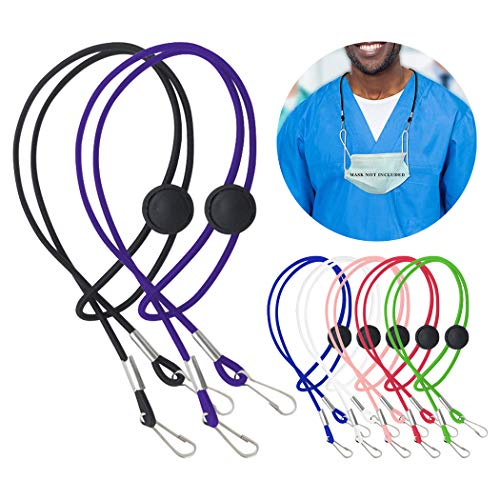 Adjustable Mask Lanyard, Comfortable Around The Neck Mask Holder with Clip (7 PCS)