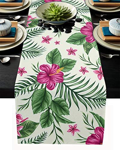 FAMILYDECOR Camino de mesa de arpillera de lino para mesas de comedor de 33 x 304 cm, flores tropicales exóticas, caminos de mesa para fiestas de vacaciones, cocina, decoración de boda