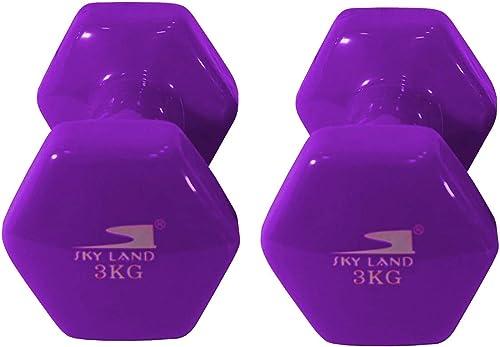Skyland Classical Head Vinyl Dumbbell Set, 3 Kg x 2 - Purple, Em-9219-3
