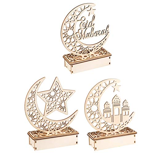 Mobestech 3PCS Ramadan Mubarak Eid Decorations Wooden Moon Star Lights Table Top Ornaments for Home Party Supplies, Three Patterns