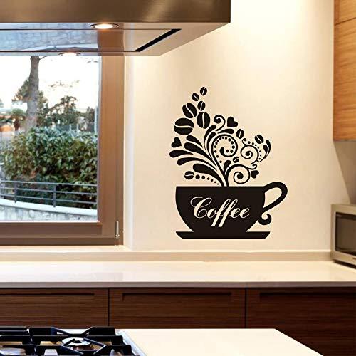 Kaffeetasse Diy Abnehmbare Art Vinyl Zitate Wandaufkleber Aufkleber Wandbild Küche Restaurant, DiyWohnkultur 58 cm X 75 cm