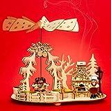 SIKORA P35 2-en-1 Pirámide de Navidad de Madera para Lamparillas Tahona con Horno Ahumado