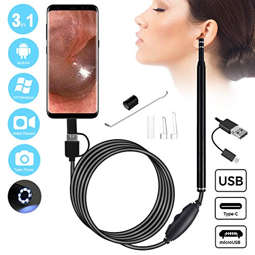 3 in 1 USB Otoscope - Ear Endoscope with Ear Wax Removal Tool - 5.6mm Earpick Ear Cleaner Adjustable LED Lights for Adults and Kids - HD Visual Ear Scope Camera for Android Phone and Windows/Mac PC