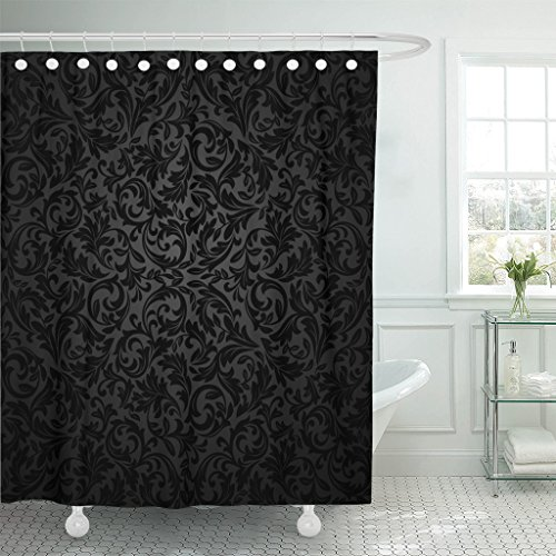 Emvency Shower Curtain Black Damask Floral Pattern Royal Flowers on Gothic Luxury Waterproof Polyester Fabric 60 x 72 Inches Set with Hooks