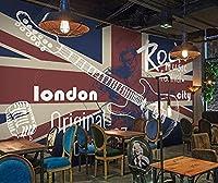 壁紙 イギリスのギターのレトロなバーの壁紙工業装飾レストランの背景の壁紙壁画-3D_200x140cm