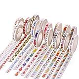 Washi Cinta adhesiva decorativa pintada a mano para álbumes de recortes, manualidades y regalos, decoración de vacaciones, suministros de oficina