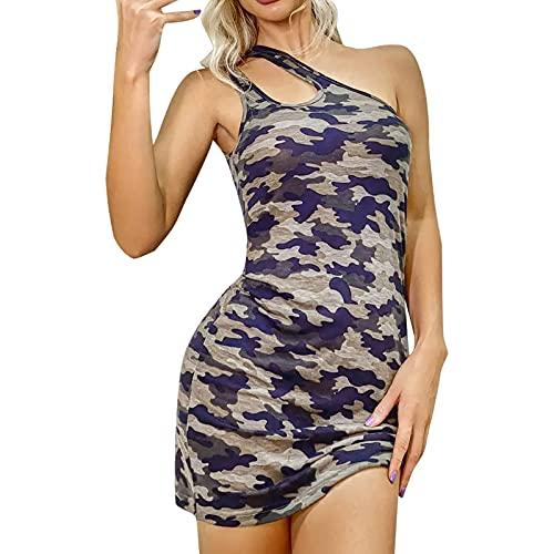 Vestido de verano para mujer, sexy, Y2K, vestido de noche, sexy, sin mangas, vestido de baile, vestido de camuflaje, vestido de fiesta, vestido de cóctel camuflaje XXL