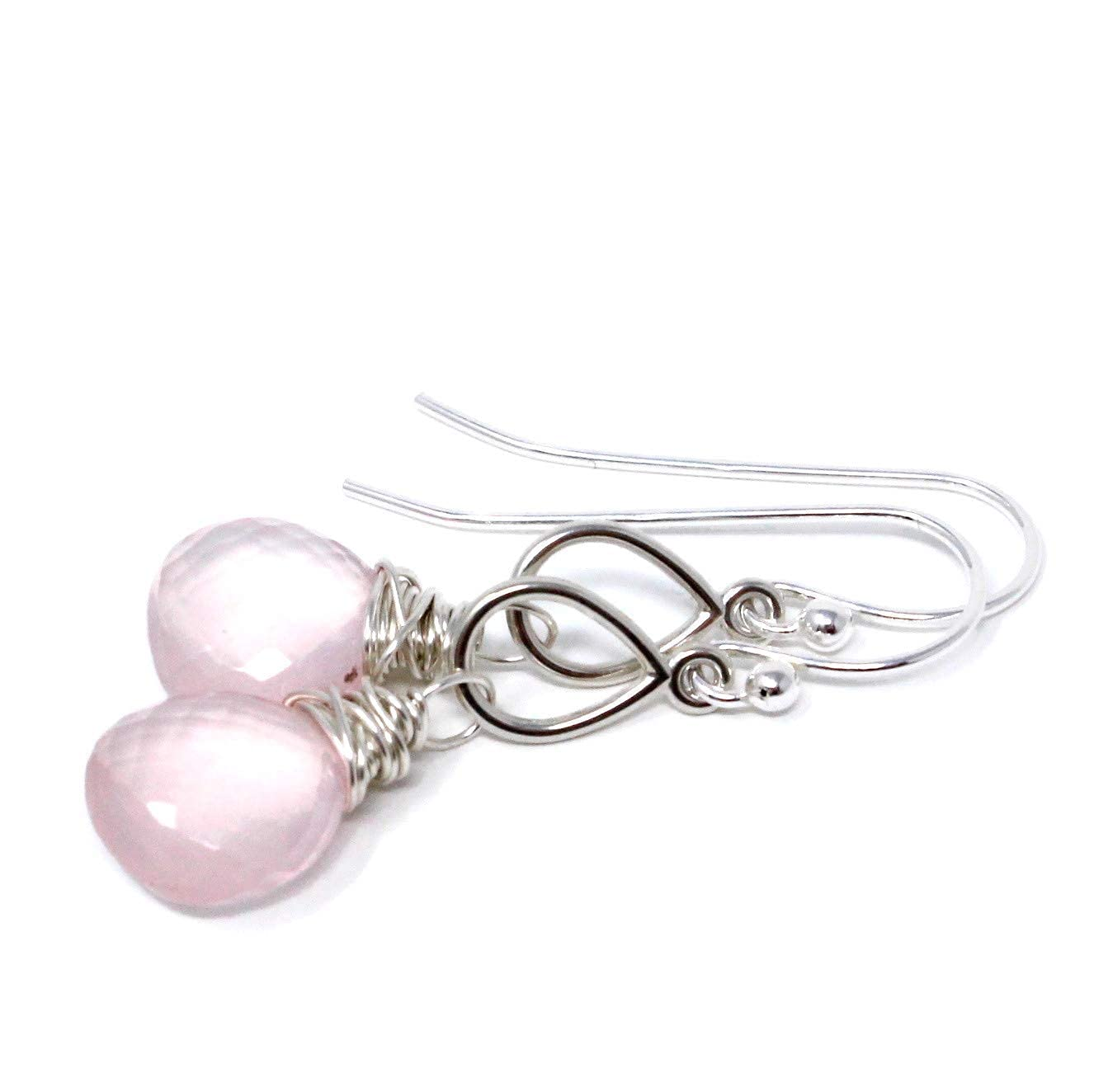 Rose Quartz Earrings Petite Pale Pink Oklahoma City Mall At the price Faceted Silver Gemstones