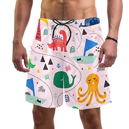 Costume da bagno da uomo in stile scandinavo con dinosauro e polpo di balena, costume da bagno elastico da uomo, taglia L Multi XXL