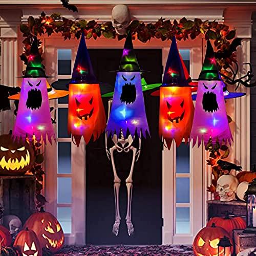 Decoración de Halloween al aire libre, 3 piezas colgantes de sombrero de bruja iluminado brillante, para Colgar Halloween Decoraciones para Fiesta Disfraces Accesorios Cosplay Jardín Al Aire Libre
