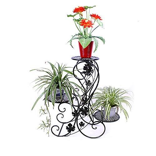 Plantenstandaard, Europese smeedijzer, 3 geplakte potplantenstandaard, metaal, op de vloer staande pottenrek, tuinstoel, staande plantenstandaard, eenvoudige montage en robuustheid