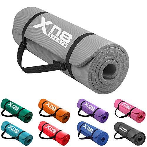Xn8 Tappetino Yoga 15mm Di Spessore Imbottito-Antiscivolo Tappetino per Palestra-Pilates-Aerobico-Fitness-Esercizi a Casa con Cinghie (Grigio)