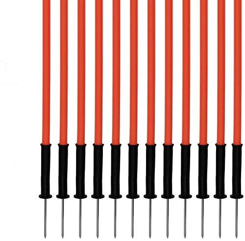 Agility Dog Sport - Set di 12 Pali da Slalom con Molla Flessibile, 130 cm, Arancione - con Borsa 12x 120o 12xES BH