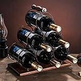 SETSCZY Estante para Botellas y Vino – Bonito botellero de Metal en Tres Niveles con Capacidad para hasta 6 Botellas – Mueble botellero de pie para Botellas de Vino y Otras Bebidas