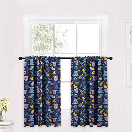 Nursery Print Blackout Draperies for Bedroom Children Toys Pattern with Rubber Duck Teddy Bear Beach Ball and Rocking Horse 30 x 24 inch Print Rod Pocket Small Window Curtain for Bathroom