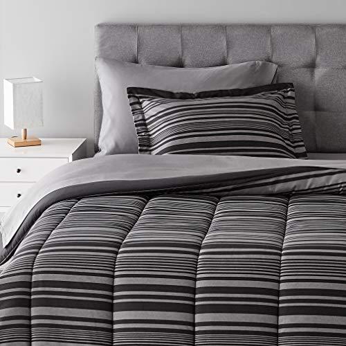 Amazon Basics 5-Piece Light-Weight Microfiber Bed-in-a-Bag Comforter Bedding Set - Twin/Twin XL, Grey Calvin Stripe